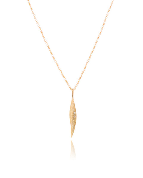 14ct Yellow Gold Diamond Leaf Pendant with Chain