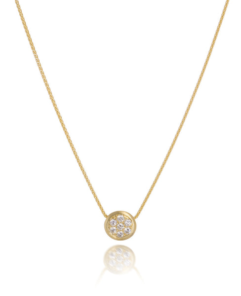 14ct Yellow Gold Diamond Pavé Pendant with Chain