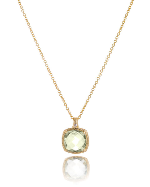 14ct Yellow Gold Green Amethyst & Diamond Pendant with Chain