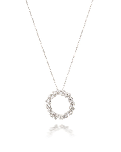 10ct White Gold Diamond Cluster Circle Pendant with Chain