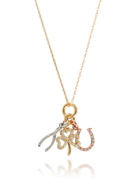 10ct Three Tone Gold Diamond Lucky Charm Pendant with Chain
