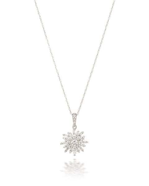 10ct White Gold Diamond Cluster Pendant with Chain