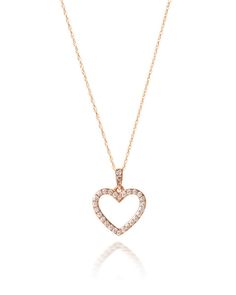 10ct Rose Gold Diamond Heart Pendant with Chain