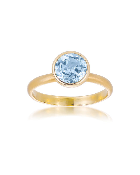 14ct Yellow Gold Blue Topaz Ring