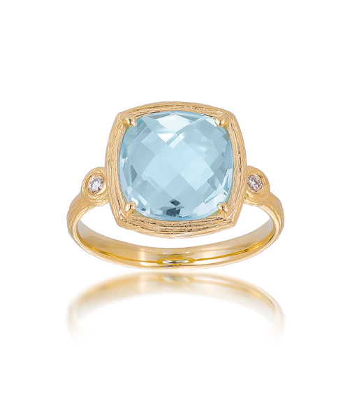 14ct Yellow Gold Blue Topaz & Diamond Ring