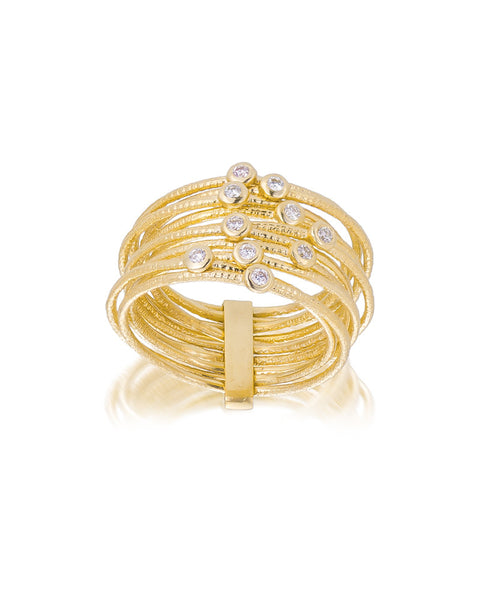 14ct Yellow Gold Diamond Stacker Ring