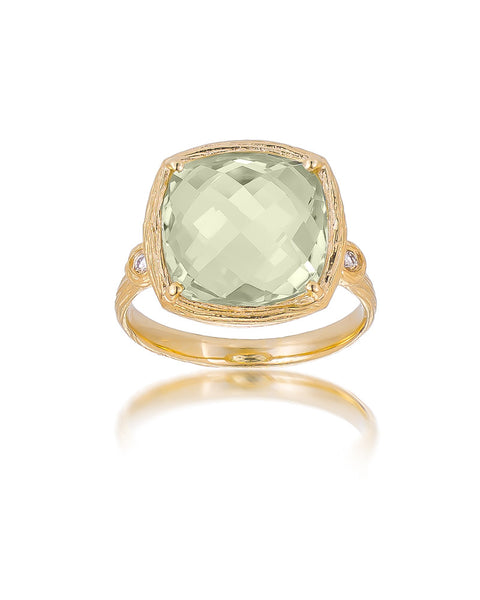 14ct Yellow Gold Green Amethyst & Diamond Ring