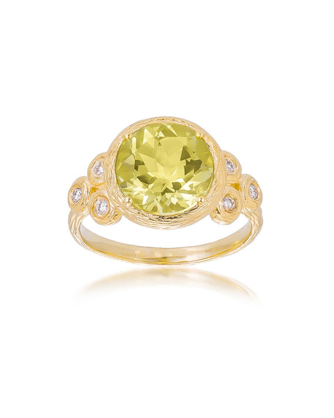 14ct Yellow Gold Lemon Topaz & Diamond Ring