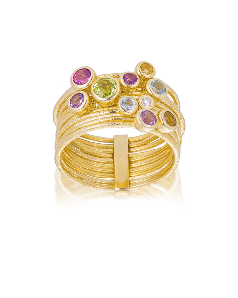 14ct Yellow Gold Multi Gem & Diamond Stacker Ring