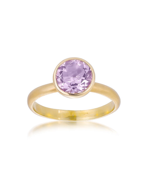 14ct Yellow Gold Pink Amethyst Ring