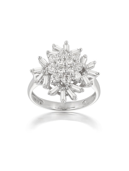 10ct White Gold 1ct Diamond Cluster Ring