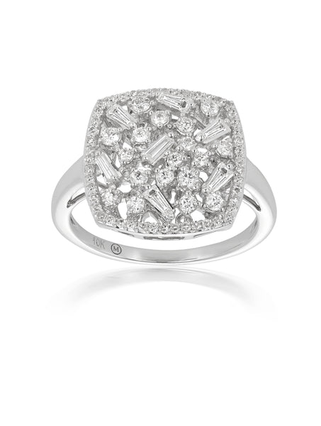 10ct White Gold Diamond Cluster Ring