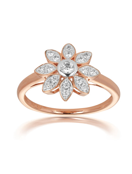 10ct Rose Gold Diamond Flower Ring