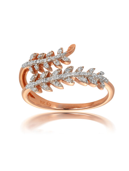 10ct Rose Gold Diamond Fern Ring