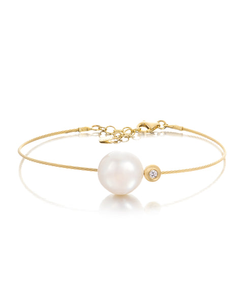 14ct Yellow Gold Pearl & Diamond Bracelet