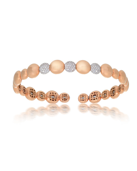 18ct Rose Gold Diamond Cuff Bracelet