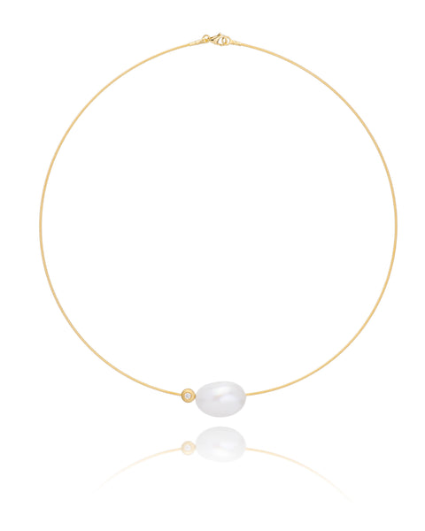 14ct Yellow Gold Pearl & Diamond Necklet