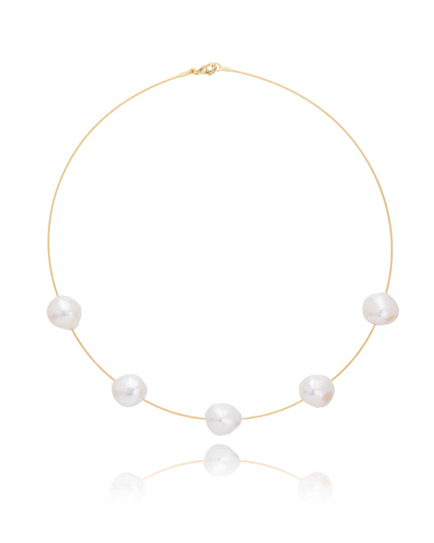 14ct Yellow Gold Pearl Necklet