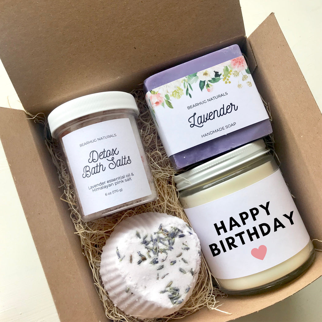 Birthday gift box for her,  Girlfriend Gift, BFF Gift Set, Pampering All-Natural Spa Gift Box, Mom Gift, Candle Gift Set