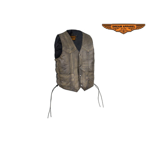 73b558cd Kids Motorcycle Brown Genuine Cowhide Leather Vest with Side Laces