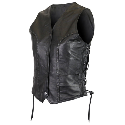 584456b1 WOMEN'S MOTORCYCLE PREMIUM COWHIDE STUDDED BLACK LEATHER VEST WITH SIDE LACE