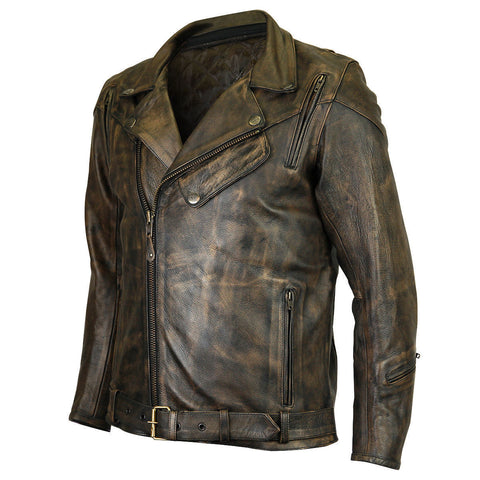 5bc9a5a0 MEN MOTORCYCLE HIGH MILEAGE DISTRESSED BROWN BIKER COWHIDE LEATHER JACKET