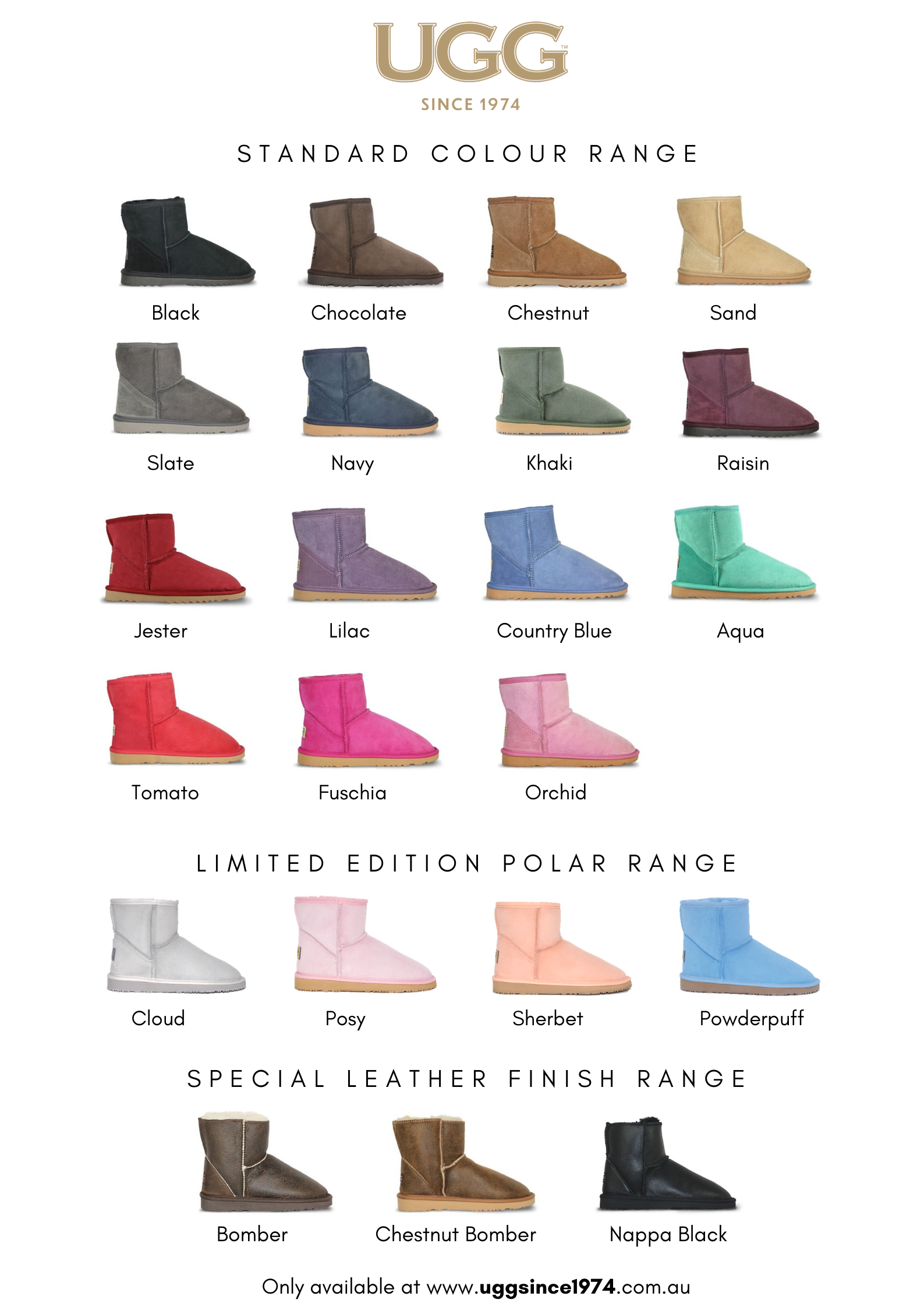 UGG Since 1974 Colour Chart