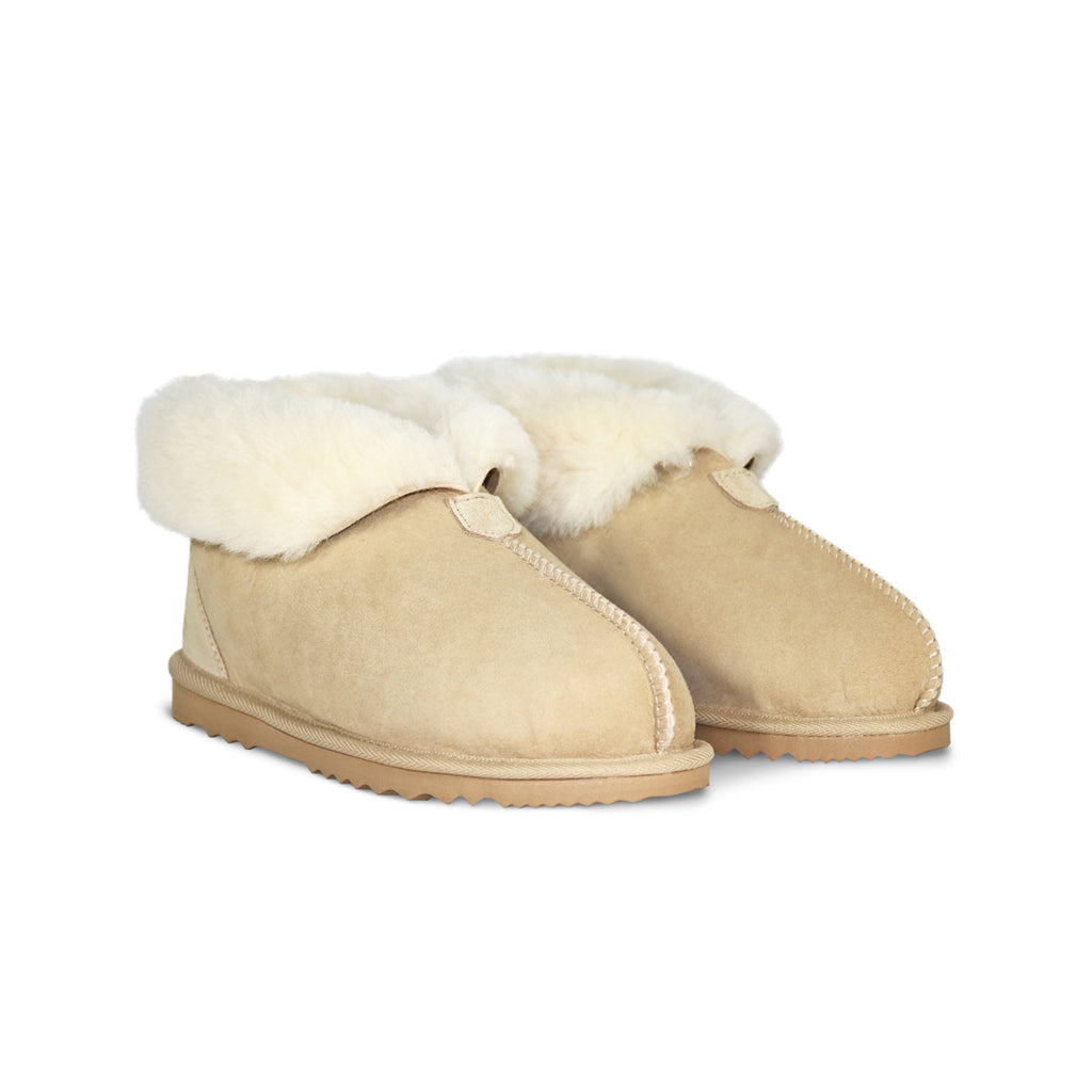 Ankle Slipper Sand sheepskin ugg boot online sale by UGG Australian Made Since 1974 Front angle view pair