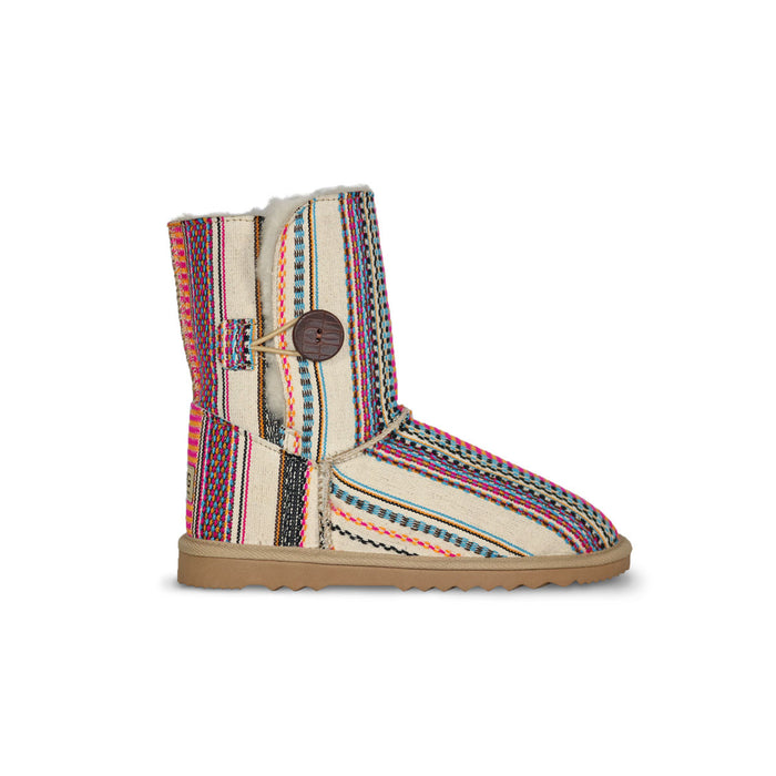 Aztec Earth Button Mid sheepskin ugg boot online sale by UGG Australian Made Since 1974 Side view