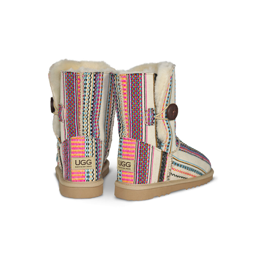 Aztec Earth Button Mid sheepskin ugg boot online sale by UGG Australian Made Since 1974 Back angle view pair