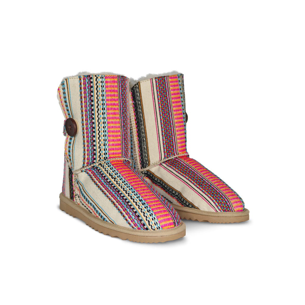Aztec Earth Button Mid sheepskin ugg boot online sale by UGG Australian Made Since 1974 Front angle view pair