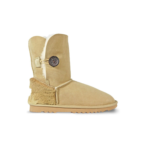 Burleigh Button Mid Sand sheepskin ugg boot with kangaroo fur heel online sale by UGG Australian Made Since 1974 Side view