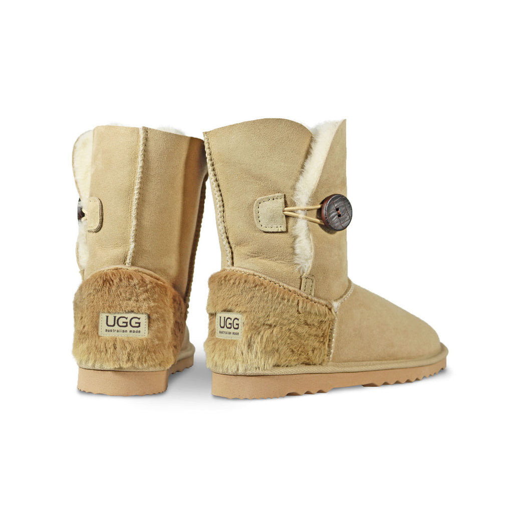 Burleigh Button Mid Sand sheepskin ugg boot with kangaroo fur heel online sale by UGG Australian Made Since 1974 Back angle view pair