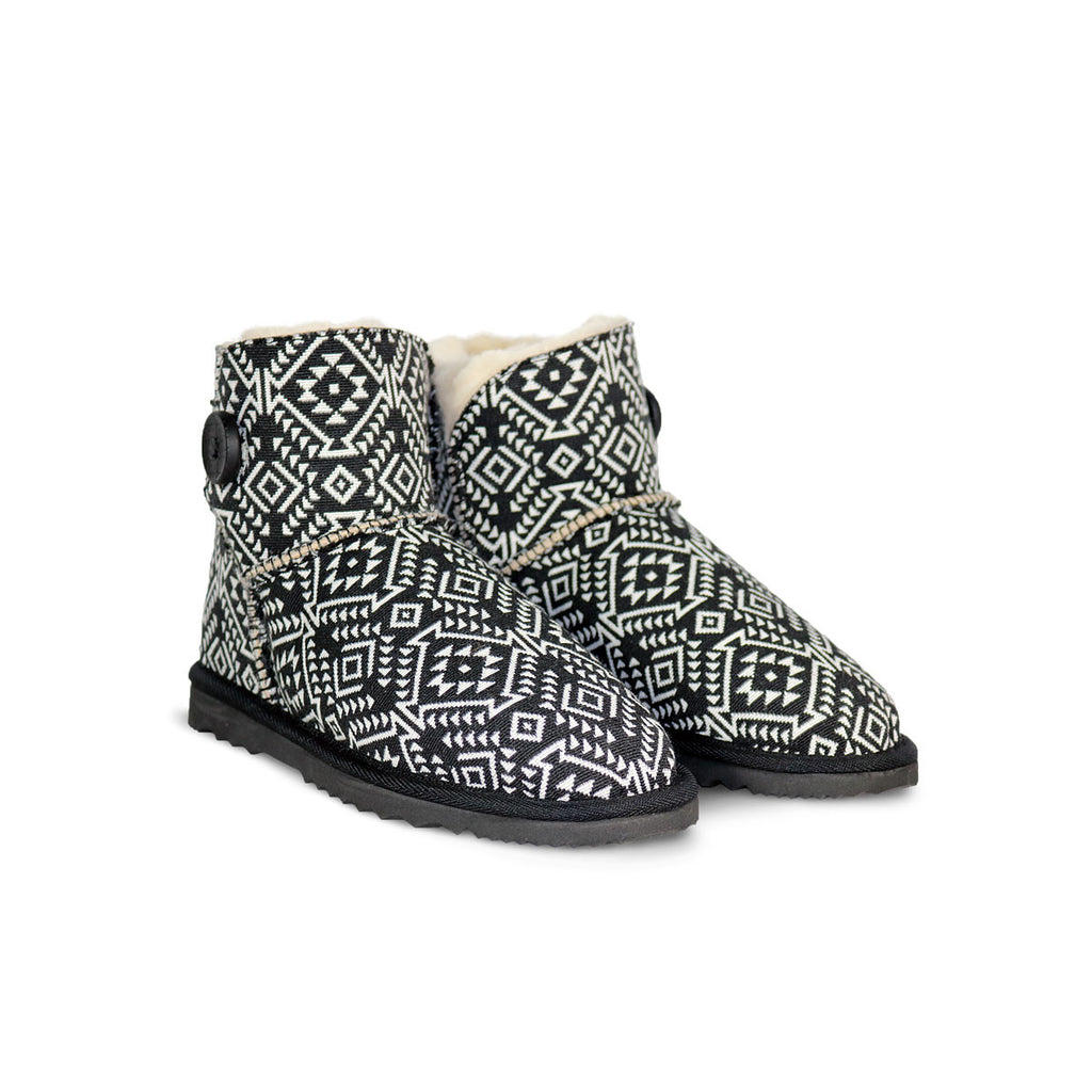 Aztec Moon Button Mini sheepskin ugg boot online sale by UGG Australian Made Since 1974 Front angle view pair