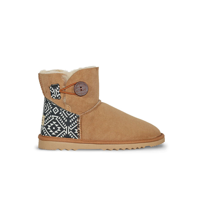 Burleigh Button Mini Chestnut sheepskin ugg boot with black and white Aztec Moon heel online sale by UGG Australian Made Since 1974 Side view