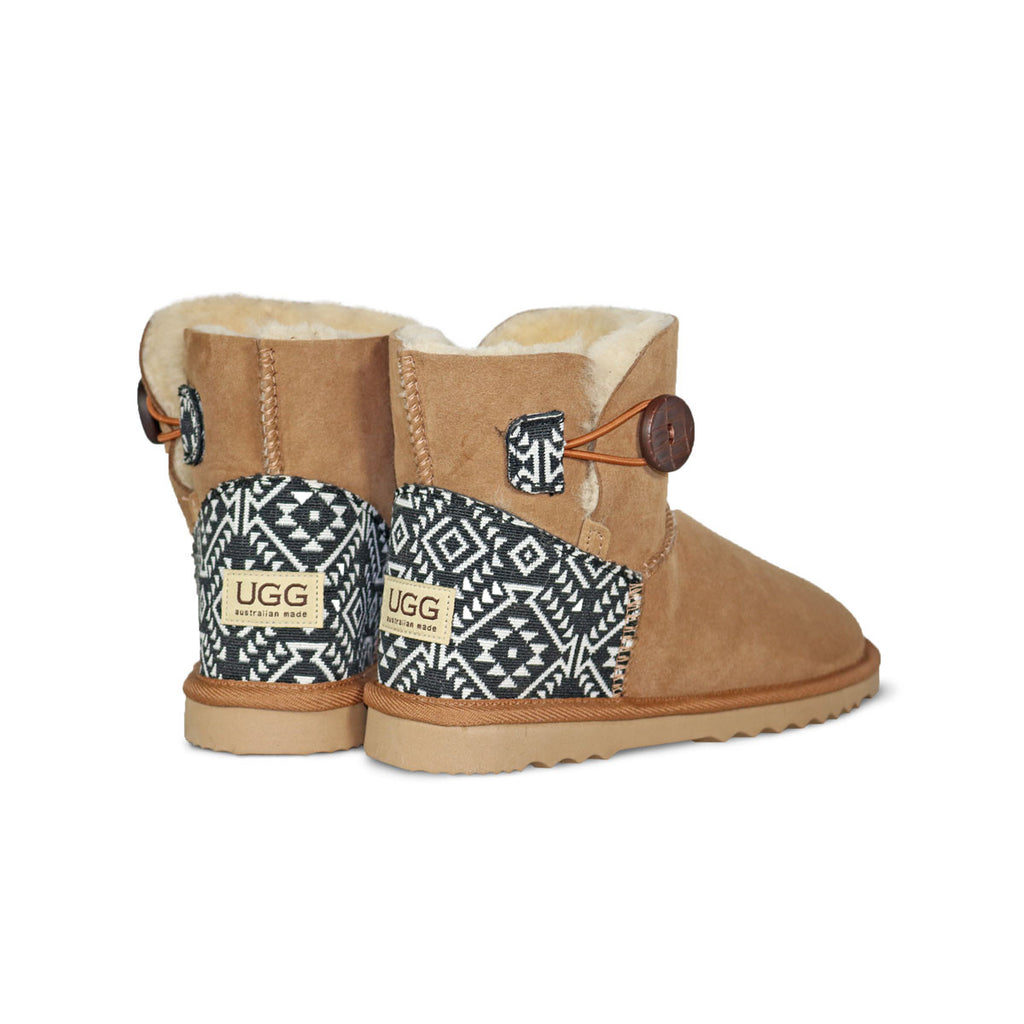 Burleigh Button Mini Chestnut sheepskin ugg boot with black and white Aztec Moon heel online sale by UGG Australian Made Since 1974 Back angle view pair