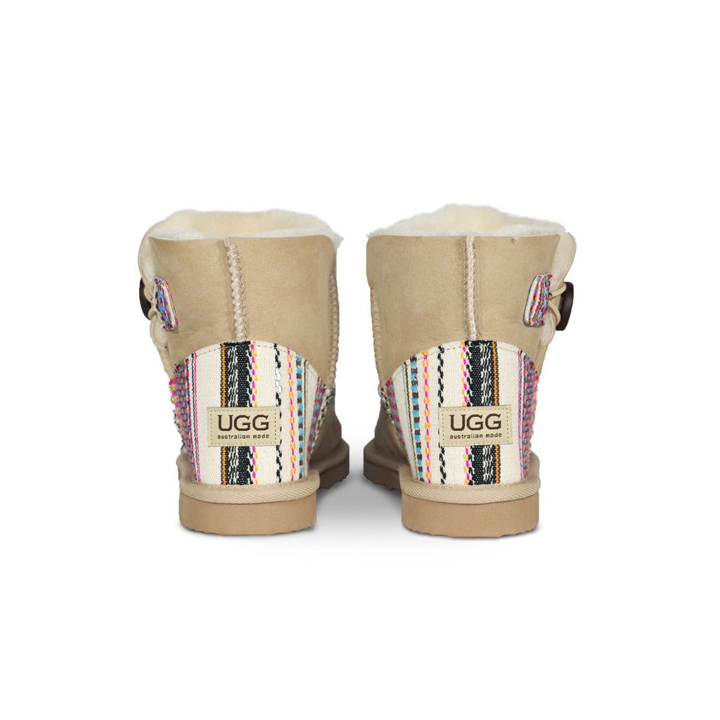 Burleigh Button Mini Sand sheepskin ugg boot with Aztec Earth heel online sale by UGG Australian Made Since 1974 Back view pair
