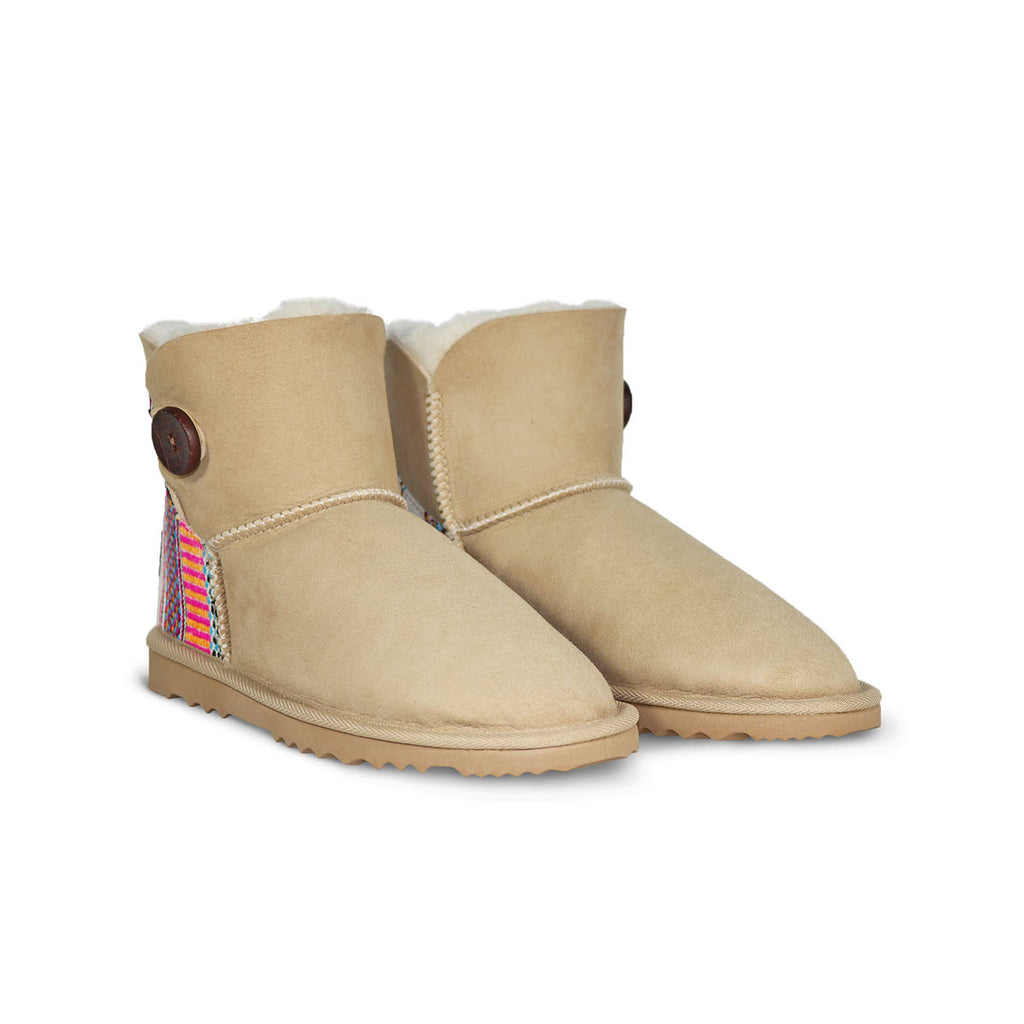 Burleigh Button Mini Sand sheepskin ugg boot with Aztec Earth heel online sale by UGG Australian Made Since 1974 Front angle view pair