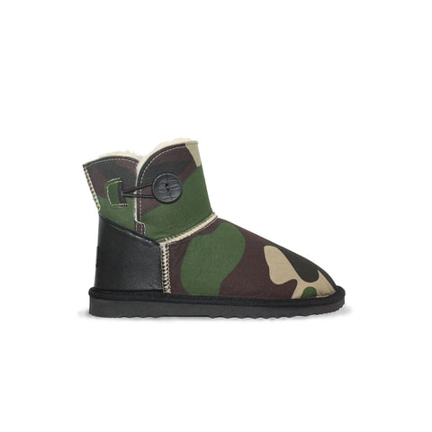 Camo Button Mini sheepskin ugg boot online sale by UGG Australian Made Since 1974 Side view