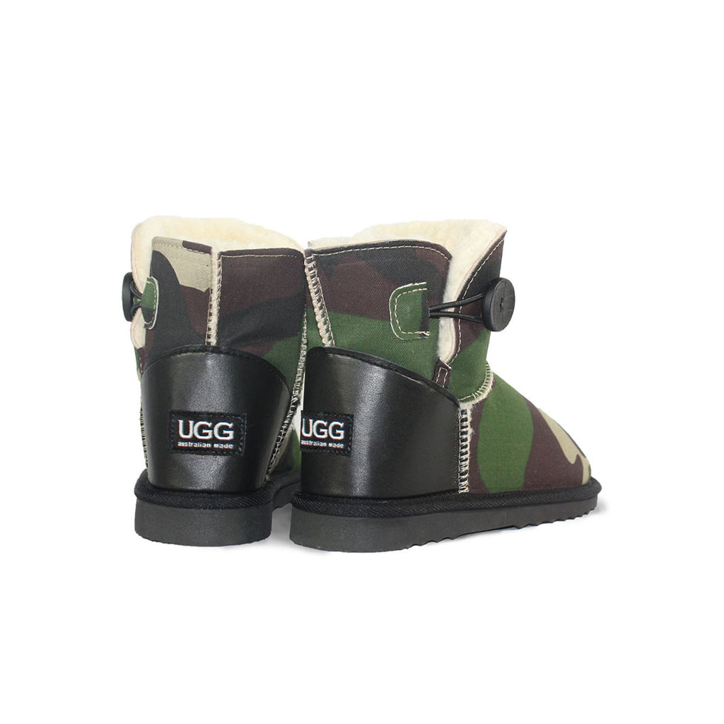 Camo Button Mini sheepskin ugg boot online sale by UGG Australian Made Since 1974 Back angle view pair