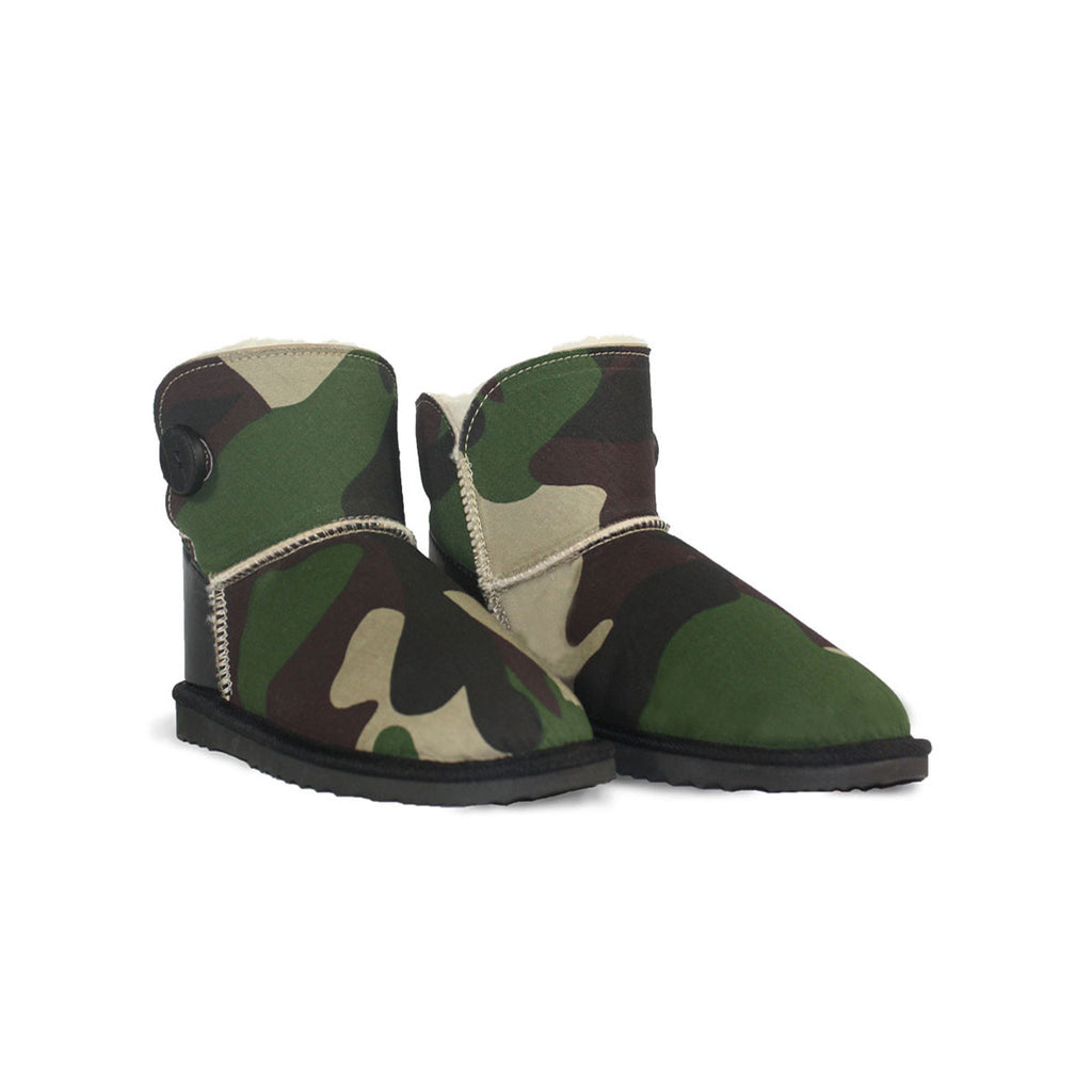 Camo Button Mini sheepskin ugg boot online sale by UGG Australian Made Since 1974 Front angle view pair
