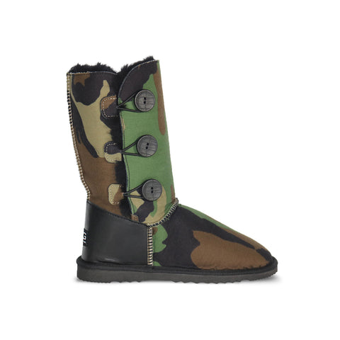 Camo Button Triplet sheepskin ugg boot with black leather heel online sale by UGG Australian Made Since 1974 Side view