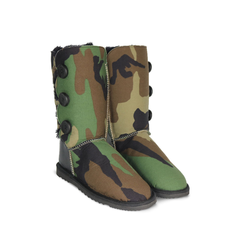Camo Button Triplet sheepskin ugg boot with black leather heel online sale by UGG Australian Made Since 1974 Front angle view pair