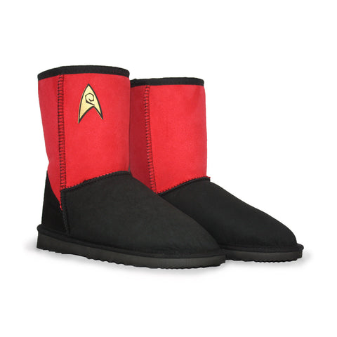 Limited Edition Star Trek Engineering Delta red sheepskin ugg boot online sale by Burlee Australia Since 1974 Front angle view pair