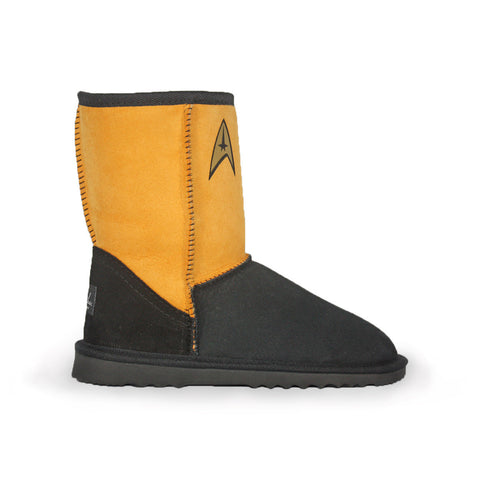 Limited Edition Star Trek Command Delta yellow sheepskin ugg boot online sale by Burlee Australia Since 1974 Side view