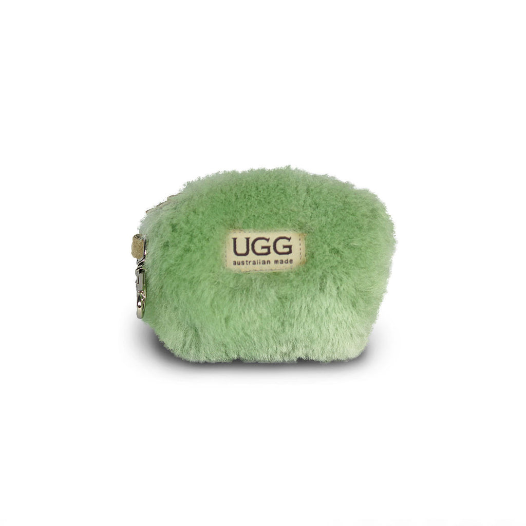 Coin purse fluffy Aqua sheepskin online sale by UGG Australian Made Since 1974 Front view