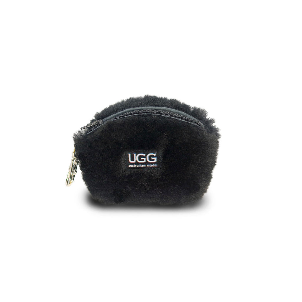 Coin purse fluffy Black sheepskin online sale by UGG Australian Made Since 1974 Front view