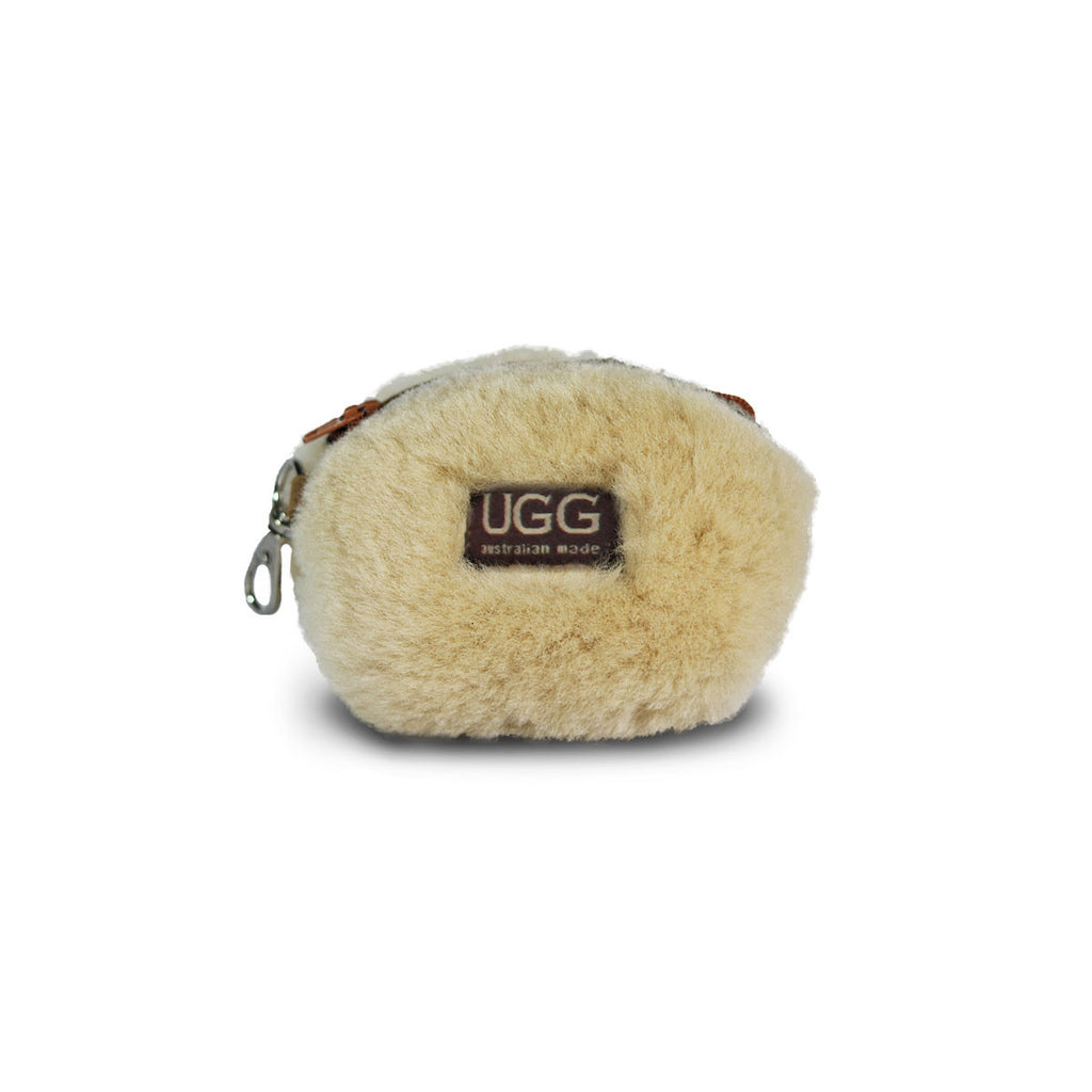 Coin purse fluffy Chestnut sheepskin online sale by UGG Australian Made Since 1974 Front view