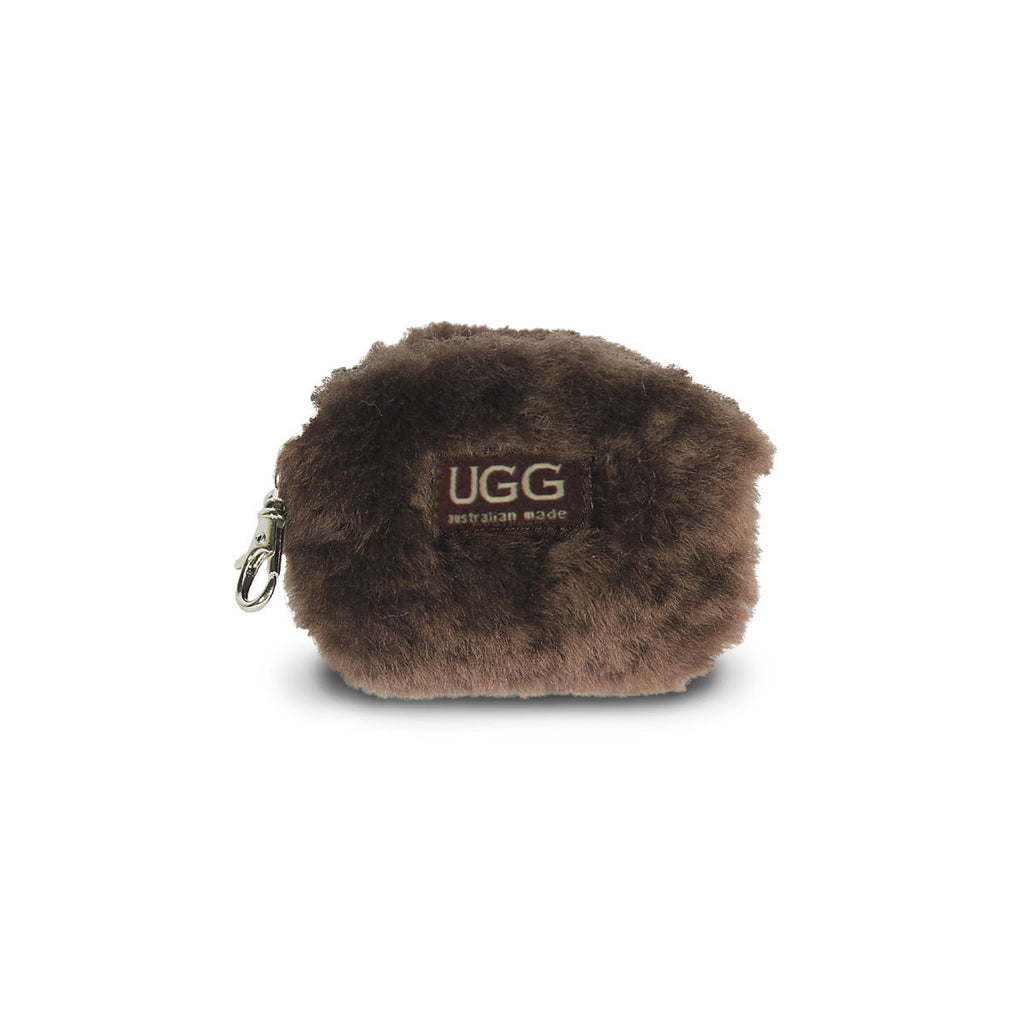 Coin purse fluffy Chocolate sheepskin online sale by UGG Australian Made Since 1974 Front view