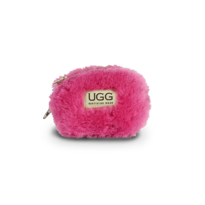 Coin purse fluffy Fuschia sheepskin online sale by UGG Australian Made Since 1974 Front view
